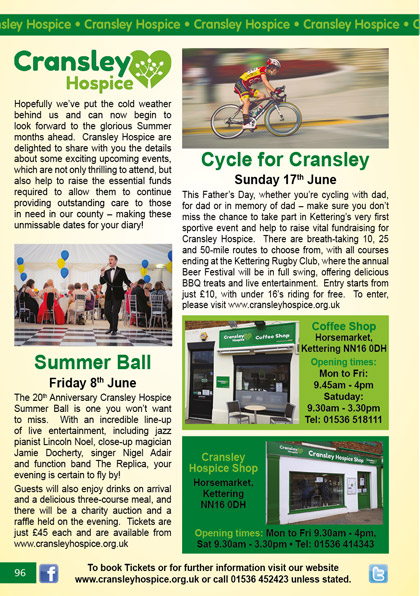 cransley HOSPICE May/June 2018